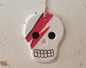 david bowie sugar skull ornament / bowie ornament / aladdin sane / day of the dead / hand painted ornament / halloween decor / ceramic skull
