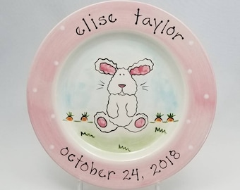 personalized baby plate / custom birth gift  / hand painted baby plate / bunny ceramic baby plate / baby animal plate / new baby gift