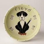 dog food / water bowl hand painted and personalized from photos of YOUR dog large ceramic dog bowl