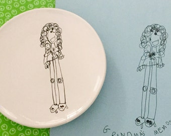 custom salad / dessert plate made with YOUR child's drawing hand painted by suzaluna