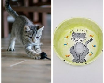 custom cat bowl / ceramic pet dish / cat gift / new kitten gift / pet portrait / cat mom cat dad / fur child / cat food bowl / water bowl