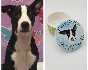 new puppy tooth box / puppy teeth box / custom pet gift / personalized dog portrait / dog mom dog dad / fur child / fur baby / ceramic box
