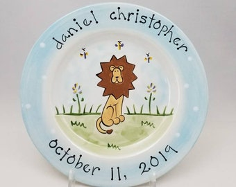 personalized baby plate / custom birth gift  / hand painted baby plate / ceramic plate / baby animal plate / new baby gift / lion design