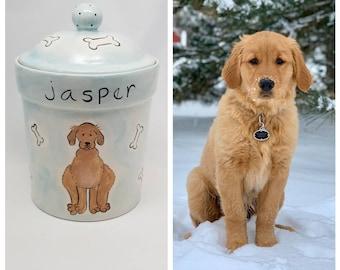 custom dog treat jar / ceramic jar / pet gift / new puppy gift / pet portrait / dog mom dog dad / doggie treats jar / doggie cookie jar
