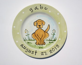 personalized hand painted golden retriever puppy dog ceramic birth plate