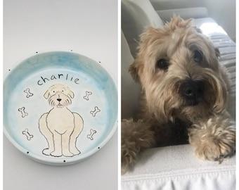 custom dog bowl / ceramic pet dish / pet gift / new puppy gift / pet portrait / dog mom dog dad / fur child / dog food bowl / water bowl