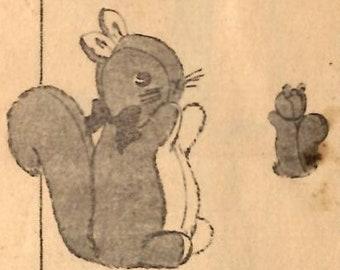 1950s Stuffed Animal Toys Squirrel /& Duck PATTERN Squirrel 11 inch Duck 12 inch