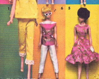 1960s Vintage Clothes Classic Doll Fashion Barbie Mattel Baby Boom Era Mod Model No.1116 Living Barbie Doll SilverGold SWIMSUIT /& Booklet