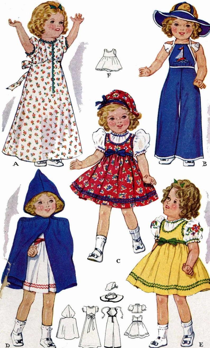 Vintage 1930s Shirley Temple Doll Clothes Coat Hat Dress Pattern ~ 25/""
