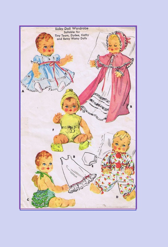 "Dy Dee Vtg 1950s Baby Doll Clothes Dress Pattern ~ 16/"" Tiny Tears Betsy Wetsy"