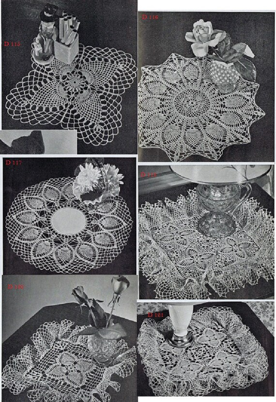 Lot Of 13 Vintage Crochet Doily Patterns Quality Photocopies Etsy