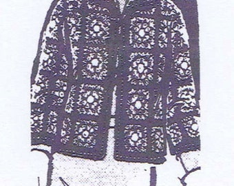 PDF Crochet PATTERN 844 Jacket in Granny Squares 32 34 & 36 38 a 1960s design