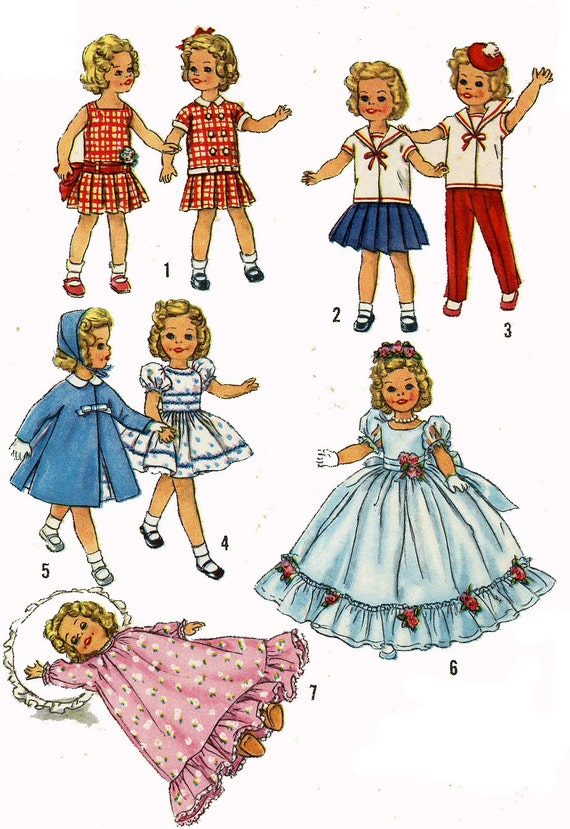 """Vtg 1950s Pattern 12/"""" Shirley Temple Doll Clothes ~ HUGE WARDROBE"""