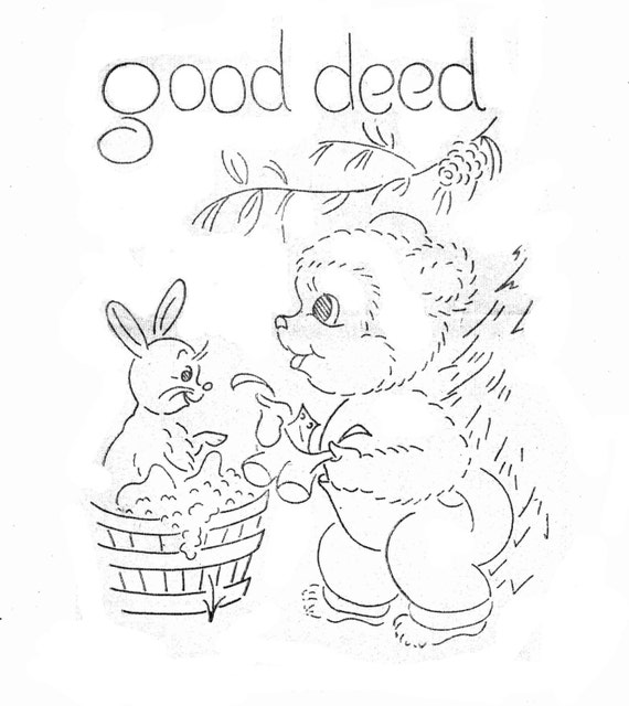 bears hand embroidery pattern for tea towels dish towels in etsy From 1980s Barbie House image