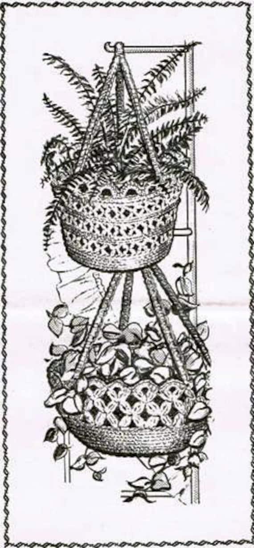Old Crochet Pattern Alice Brooks 7067 Two Plant Hangers 4 12 Etsy