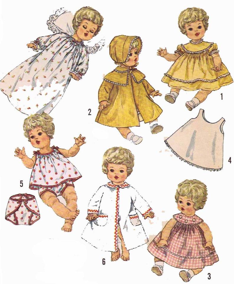 """Vtg Baby Doll Clothes Pattern~ 15/"""" 16/"""" 17/"""" for Tiny Tears Betsy Wetsy Thumbelina"""