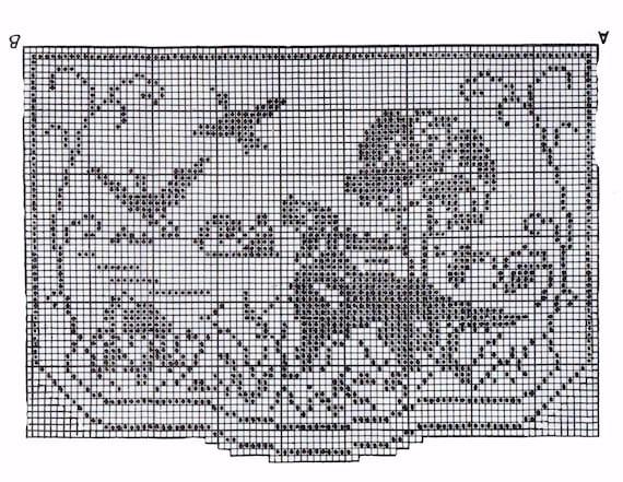 Crochet Pattern Vintage 107 Chair Set Hunting Scene Filet Etsy