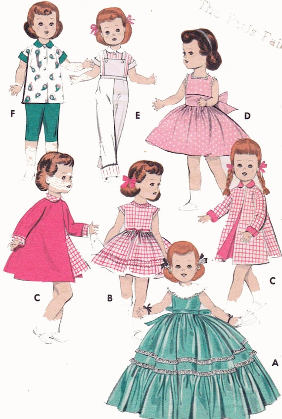 "Vtg 1950s Doll Clothes Dress Pattern ~ 16/"" Saucy Walker Tiny Tears Thumbelina"