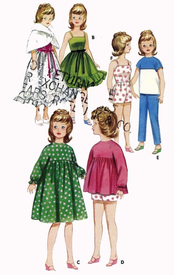Vintage 1960s Doll Clothes Dress Bikini Robe Pattern ~ Barbie Tammy Jan Terry