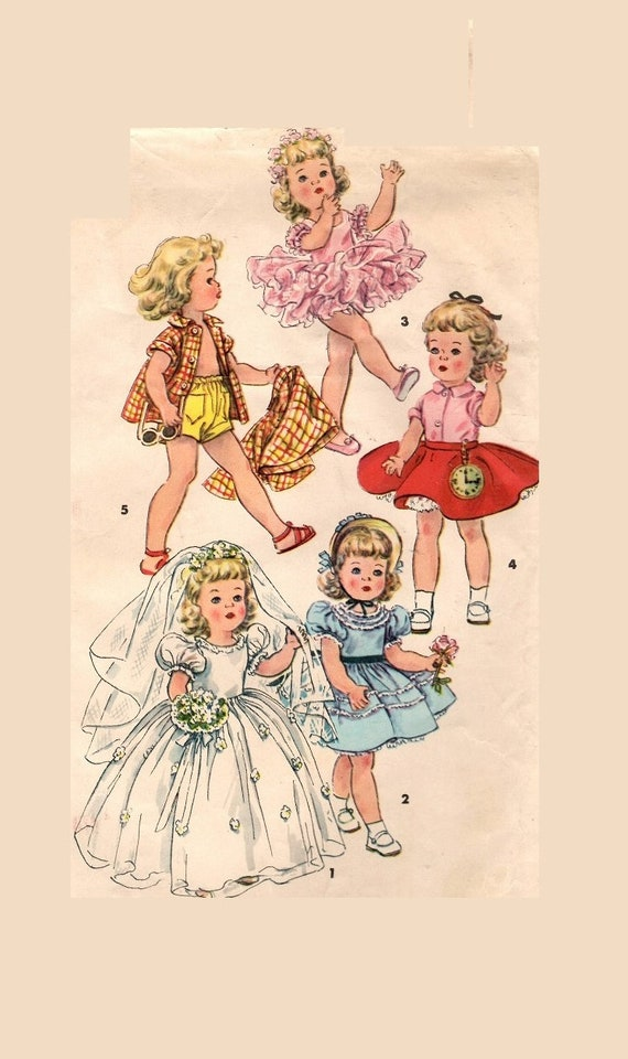"Vtg 1950s Doll Clothes Pattern ~ 16/"" Toni 15/"" Miss Revlon Wedding Gown Dress"