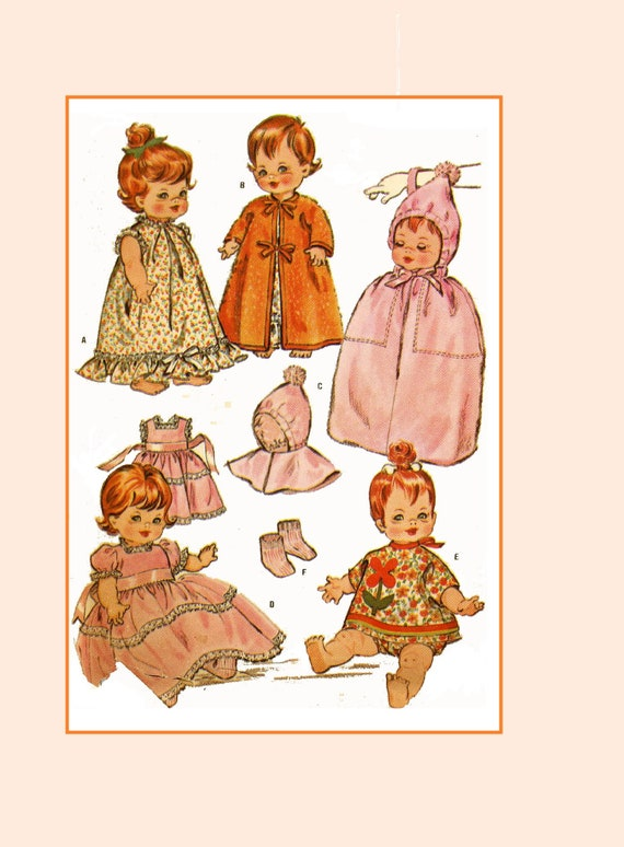 """Vtg Toddler Baby Sue Baby Doll Clothes Pattern ~ 23/"""" Saucy Walker Tootles"""