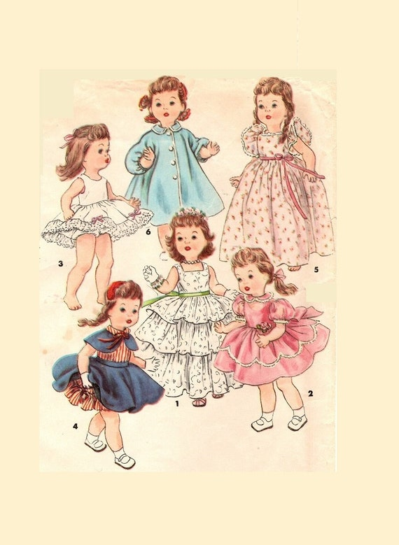 """Vintage Toddler or Baby Doll Dress Play Clothes Pattern ~ 22/"""" 23/"""" Saucy Walker"""