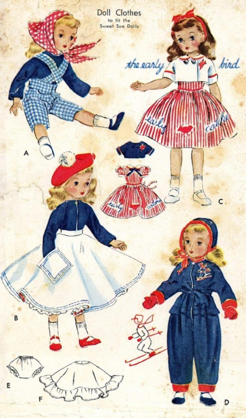 "Sweet Sue Vintage 1950s Doll Dress Coat Hat Pattern 18/"" 19/"" Toni Miss Revlon"