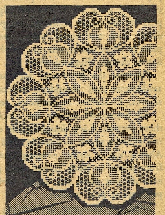 Old Crochet Pattern 543 Filet Doily With Flowers And Leaves In Etsy