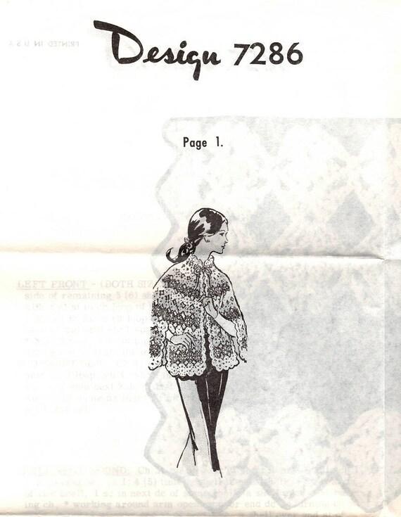 Vintage Crochet Shell Stitch Cape PATTERN 7286 Misses size | Etsy