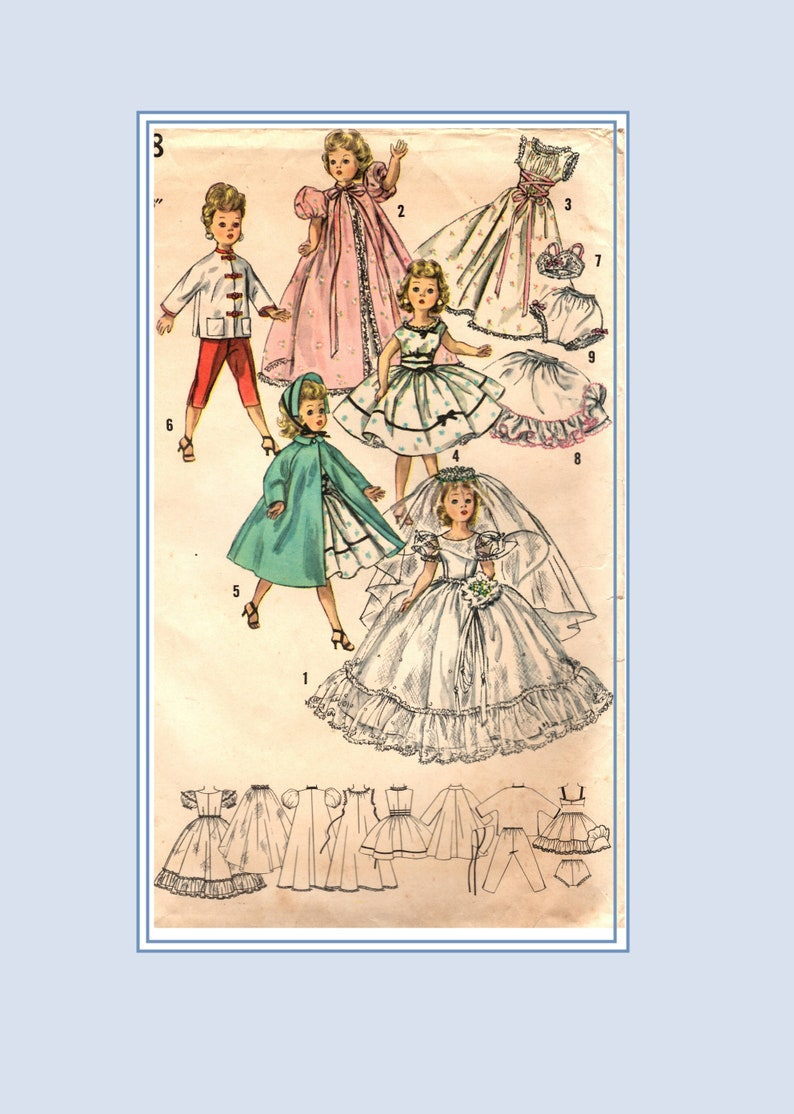 "Sweet Sue Vtg 1950s Doll Clothes Wedding Dress Pattern ~ 22/"" Miss Revlon Toni"