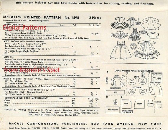 """Doll Clothes PATTERN 1372  for 7/"""" 8/"""" Ginny Wendy Muffie Bella Honeybunch 49ers"""