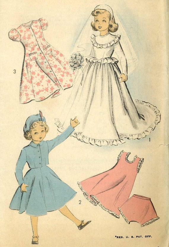 "Sweet Sue Vtg 1950s 20/"" 21/"" Miss Revlon Toni Doll Clothes Dress Pattern Cissy"