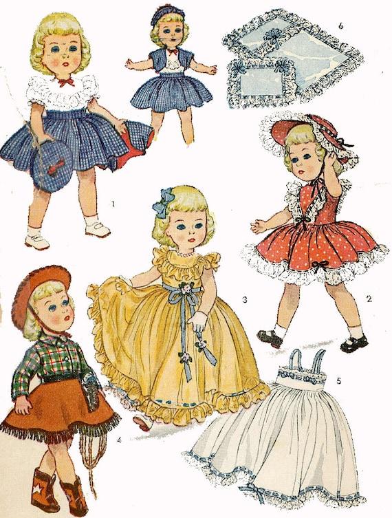 "Vintage Doll Pattern Dress Cowgirl ~ 16/"" 15/"" Toni Sweet Sue Miss Revlon"