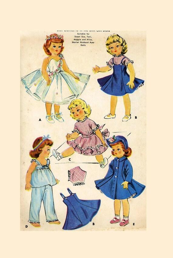 "Vtg Doll Clothes Pattern Gown Ballerina ~ 22/"" Miss Revlon Toni Sweet Sue"