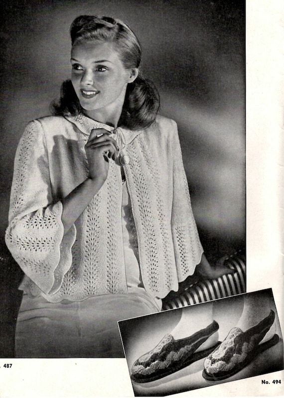1940s Bed Jacket Knitting And Crochet Pattern With Matching Etsy