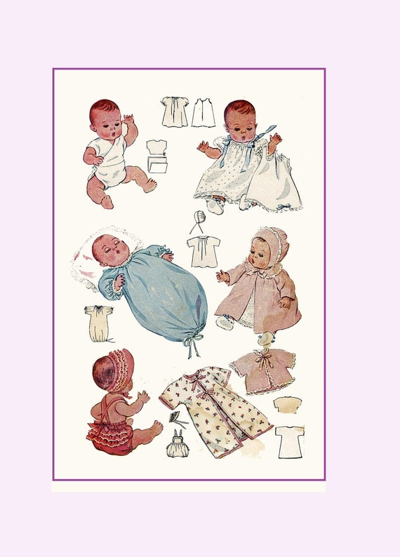 Vintage Doll Clothes PATTERN 713 for 11 in Dy Dee Little Girl Doll by Effanbee