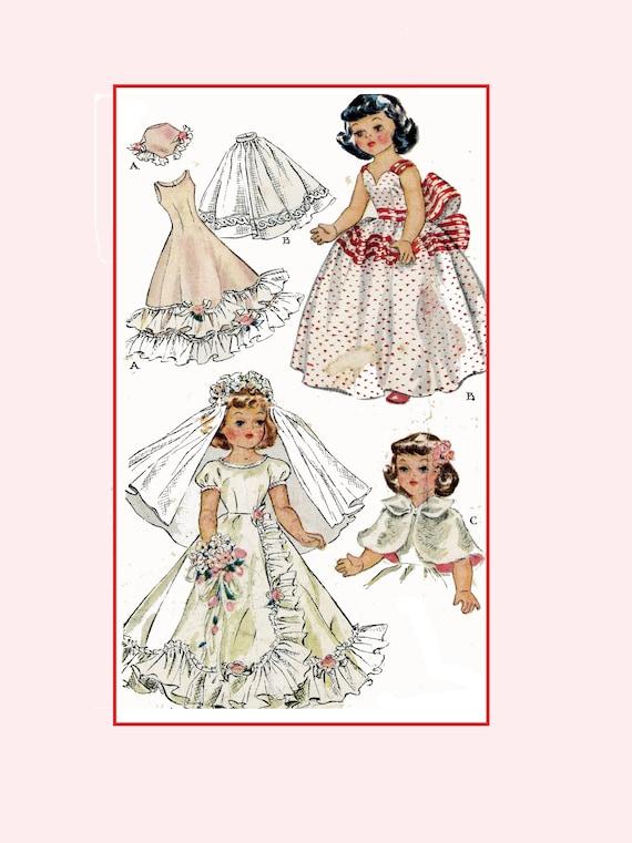"Vtg Doll Clothes Dress Pattern ~ for 19/"" 20/"" Sweet Sue Toni Cissy Miss Revlon"