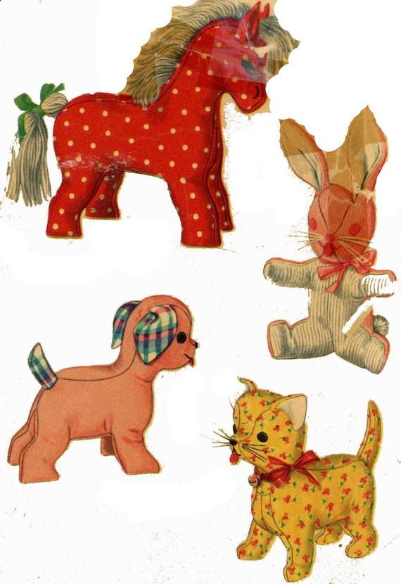 Vintage Stuffed Toy PATTERN 4915 Four Animals Cat Dog   Etsy
