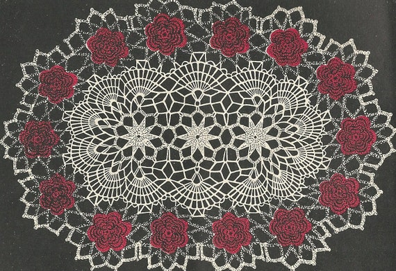 Oval Rose Doily Crochet Pattern From A 1956 Workbasket A Etsy