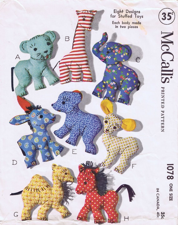 1940s Stuffed Toy PATTERNS 4510 Horse Elephant Cat Dog Lamb Bunny Rabbit EASY