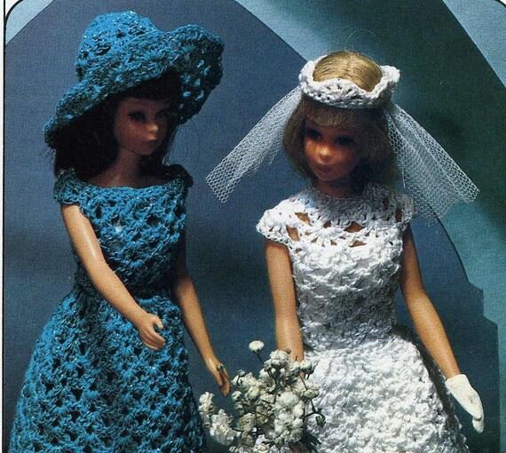 Patrones Crochet vintage para Barbie amigos 7 trajes traje novia ...