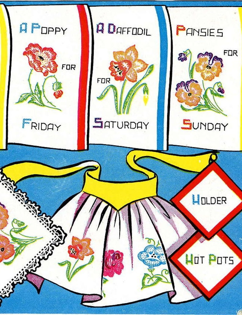 Digital Vintage Hand Embroidery Pattern 215 Flowers for Days of the Week Tea Towels Instant Download PDF files 1950s