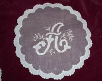 Goblet Round with Initial A and Hand Embroidery