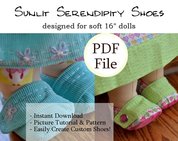 Waldorf Puppe Schuhe PDF Muster 15 16 weiche Puppe | Etsy