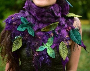 Filz Schal-lila Wald Hals wärmer-Filz-Blatt Gugel-Pixie Schal-Wolle Schal-Filz Blätter-Fee Kostüm tragbar Kunst-ShawlOOAK