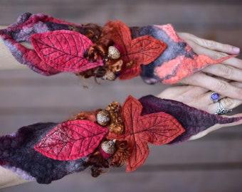 Felt Autumn Wrist Cuffs-Wrist Cuffs-Felt Autumn Arm Cuffs-Fantasy Costume-Fairy Costume-Autumn Leaf Costume-Leaf Cuffs-Leaf CuffsOOAK