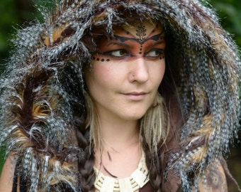 Felt Melted Wild Pixie Woodland Guinea Fowl Feather Tribal Scoodie Fur Trimmed Hooded Hat OOAK