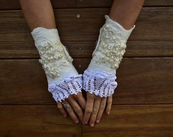 Felt Vintage Doily Arm Warmers-Wrist Warmers-Fairy Cuffs-Pixie Mohair Cuffs-Woodland Wool Cuffs-Wedding Arm Warmers-Felt Merino Cuffs OOAK