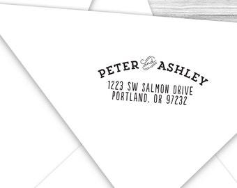 Custom formal vintage return address stamp--139TS