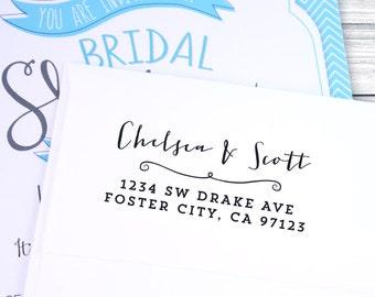 Custom formal calligraphy return address stamp--102TS or 102SI